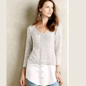 Anthropologie Moth Aselin Pullover Layered Tunic